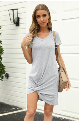 V-Neck Grey T-Shirt Dress