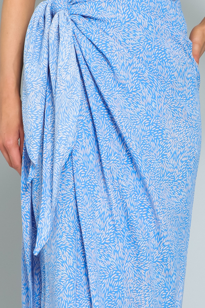 Blue Wrap Maxi Skirt