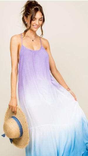Tie Dye Maxi Dress Strappy Back