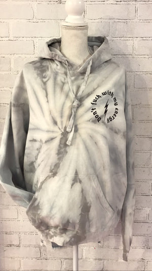 Don't Fuck With my Energy Silver Tie Dye Hoodie