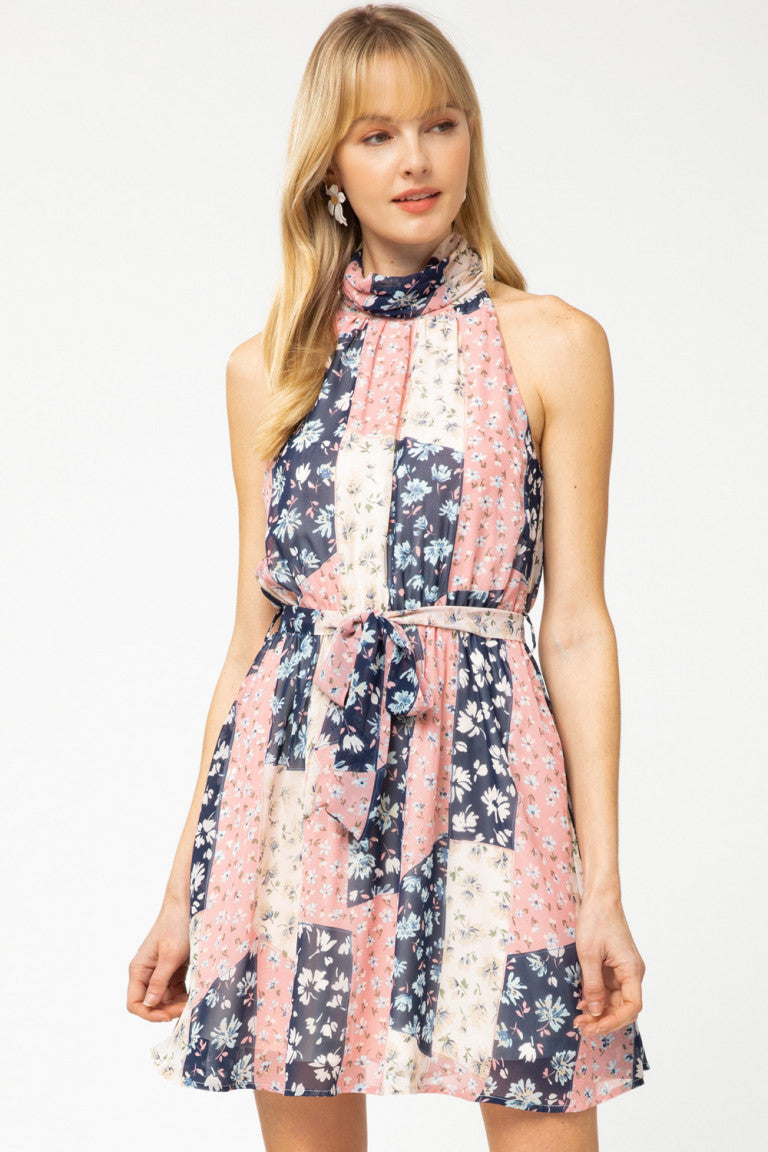 Patchwork Print Boho Dress