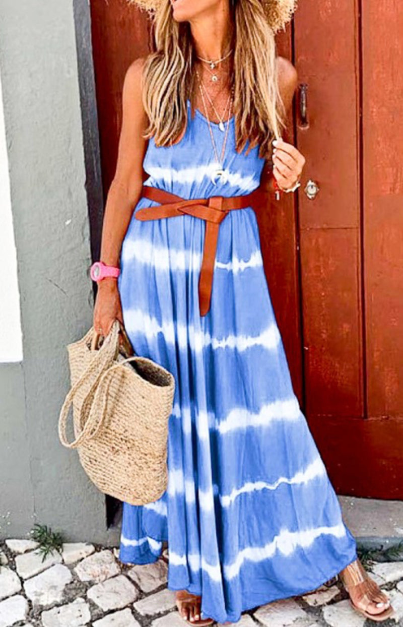 Spaghetti Strap Blue Dip Dye Maxi Dress