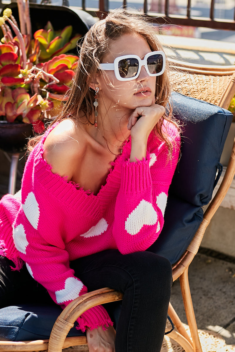 Neon Fuchsia Frayed Heart Sweater