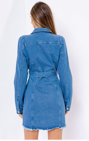 Long Sleeve Stretch Denim Dress