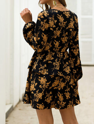 Black and Gold Floral Long Sleeve Dress
