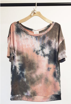 Tie Dye Wide Neck Top