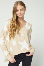 Star Print V-Neck Long Sleeve Top