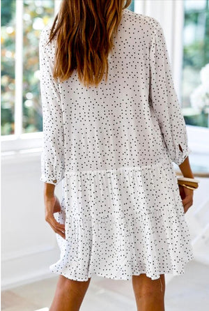 Button Down Tiered Shirt Dress
