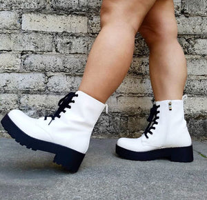 Mazzy Patent White Boot