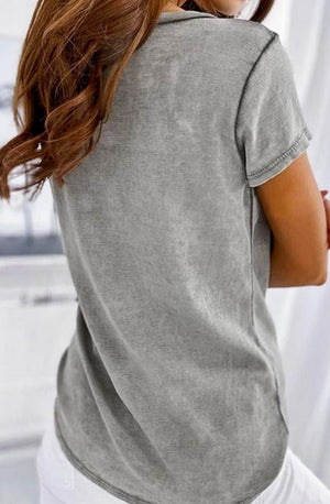 Deep V-Neck Washed Out Top
