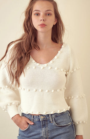 Pom Pom Cropped Sweater