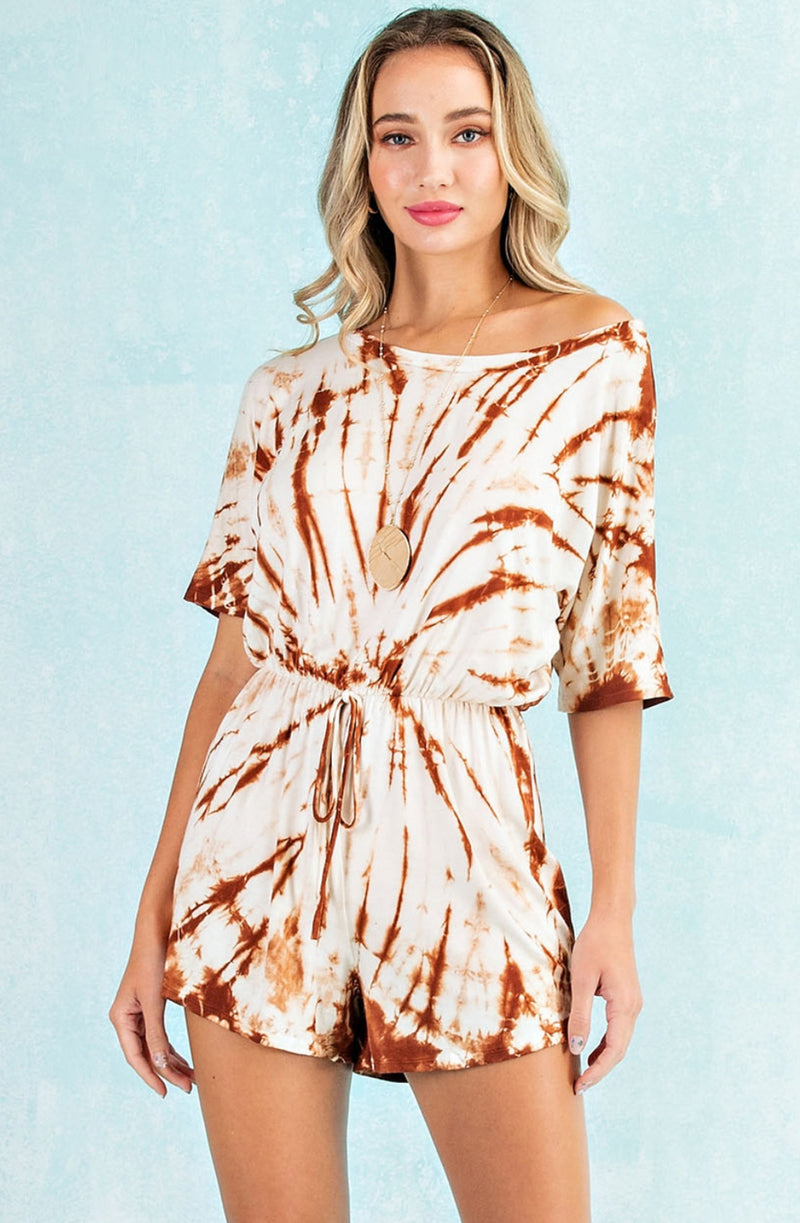 Pecan Tie Dye Romper With Pockets