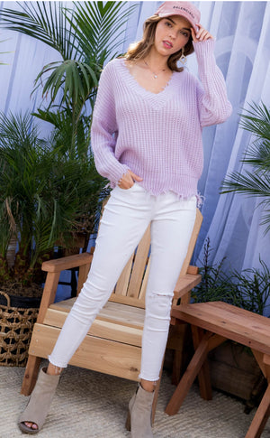 Frayed V Neck Sweater Lilac