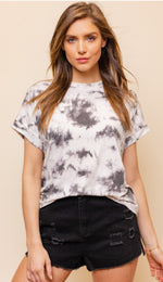 White and Grey Tie Dye Top