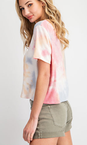 Coral and Blue Tie Dye Top