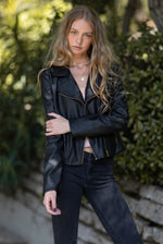 Long Sleeve Vegan Leather Moro Jacket