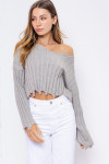 Long Sleeve V-Neck Distressed Sweater