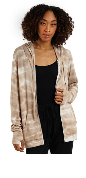 Zip Up-Taupe Tie Dye