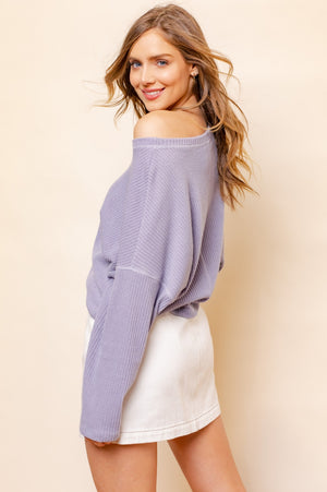 Lavender long sleeve knit top