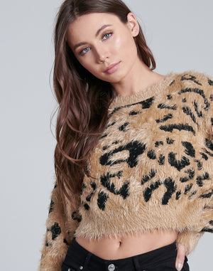 Cheetah Print Crop Sweater