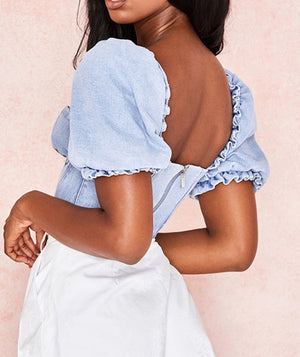Sweetheart Puff Sleeve Denim Crop
