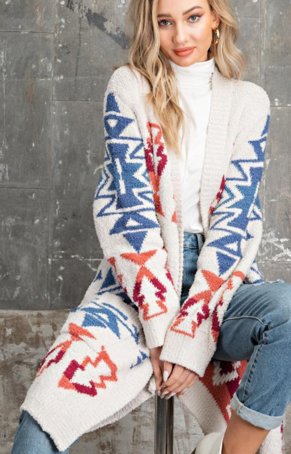Fuzzy Aztec Sweater