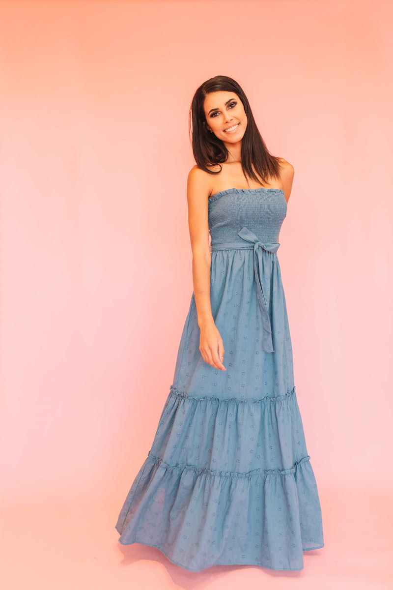 Denim Blue Tube Eyelet Maxi Dress