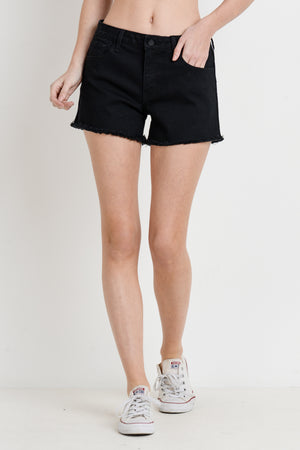 Black Denim Short with Side Stripe