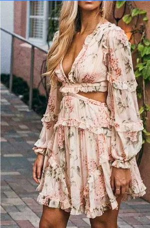 Blush Combo Crossback Floral Dress