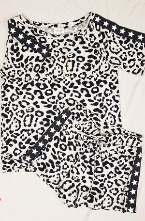 Oatmeal Black Leopard Star Drawstring Shorts