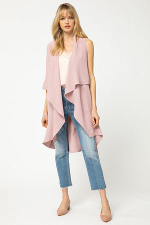 Blush Rose Draped Duster