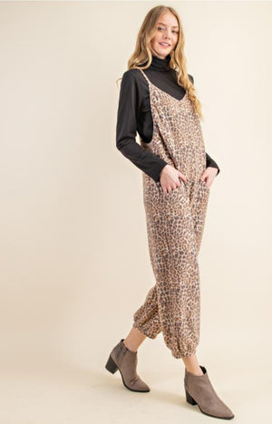 Animal Print Cashmere Lounge Overalls