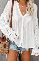 Button Down V-Neck Eyelet Blouse Top