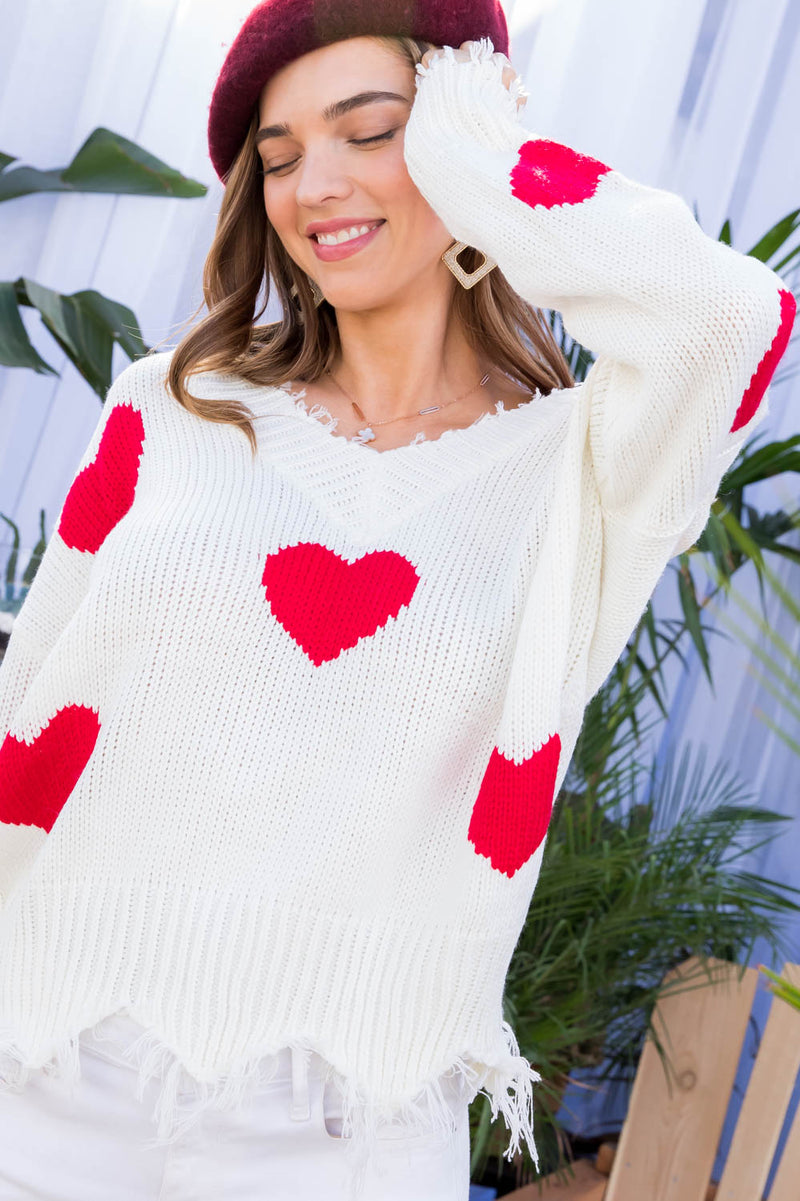 Red Heart Distressed Sweater