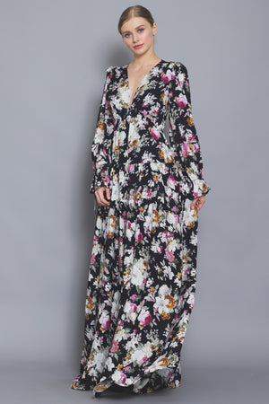 Long Sleeve Tiered Floral Maxi Dress
