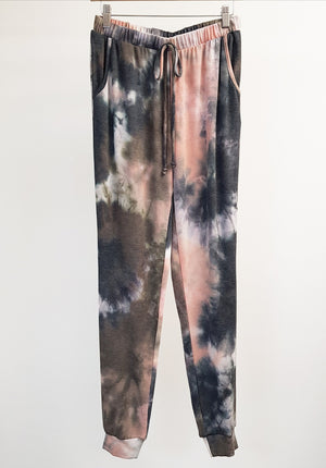 Tie Dye Loungepant Olive and Peach