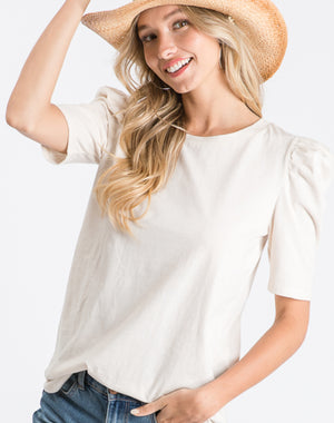 Puff Sleeve Cream Shirt