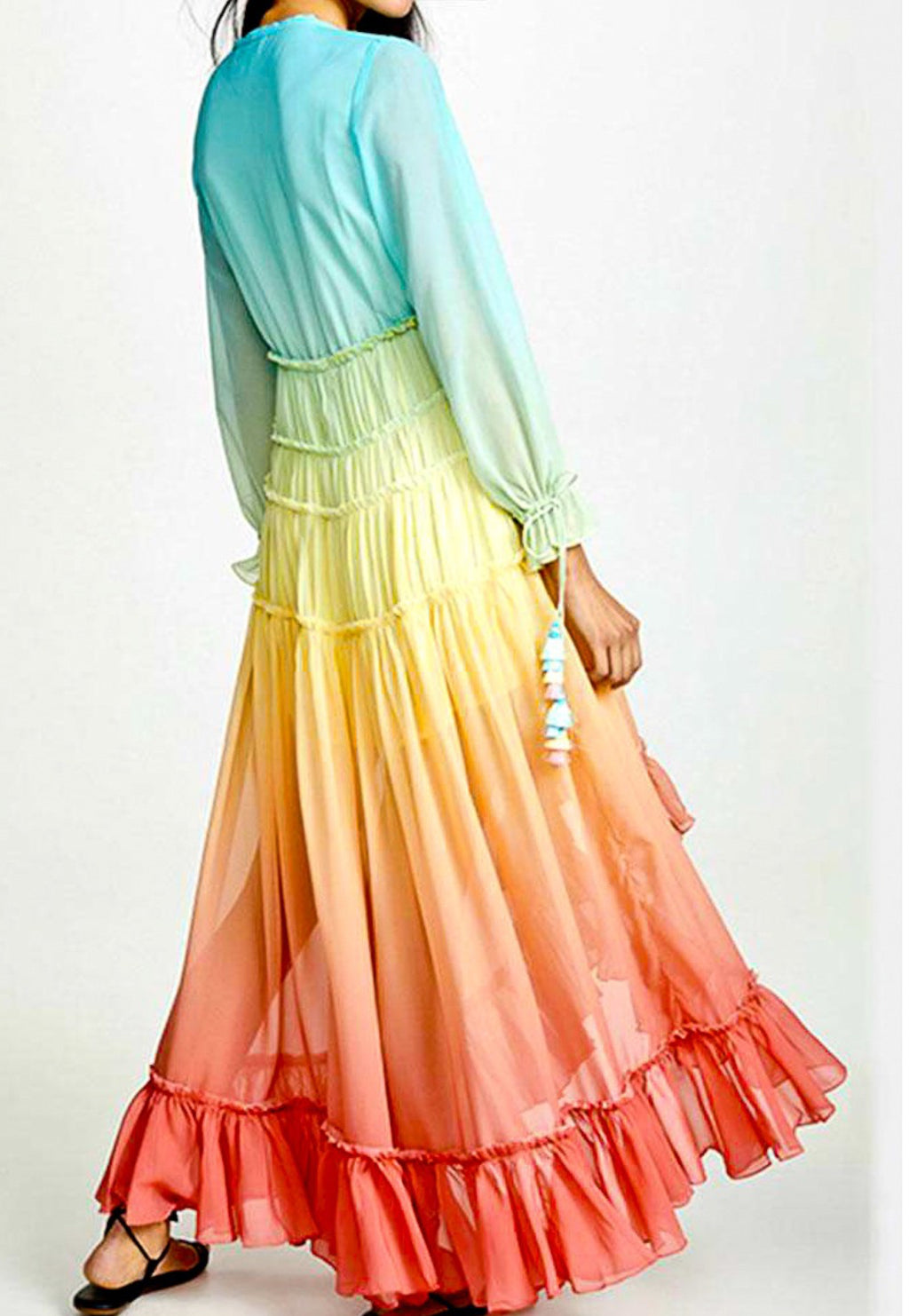 Dip Dye Chiffon Maxi Dress