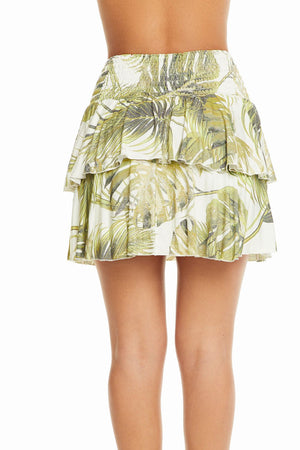 Cool Jersey Palm Print Tiered Skirt