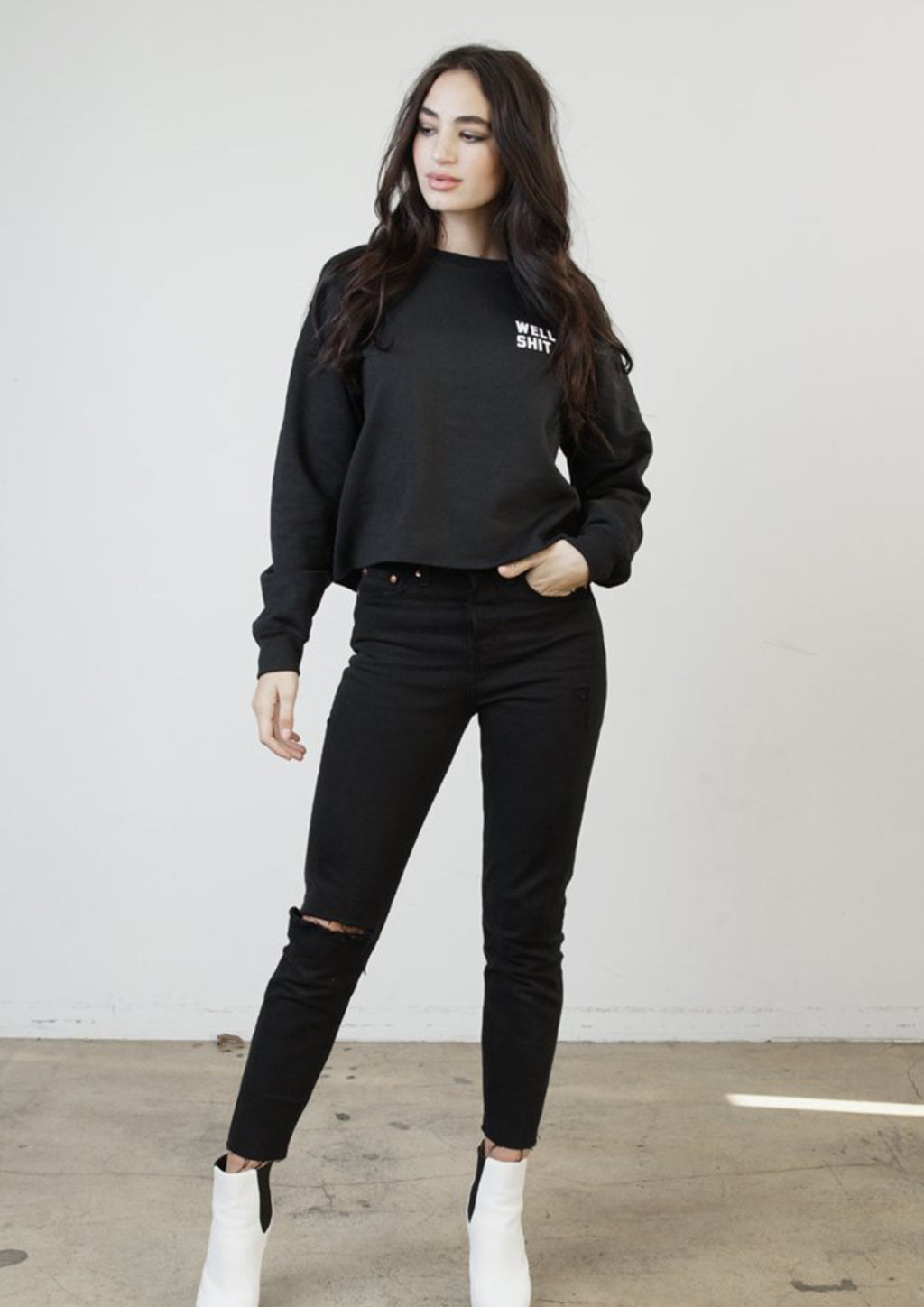 Well Shit Raw Hem Black Sweatshirt
