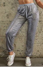 Drawstring Sequin Joggers