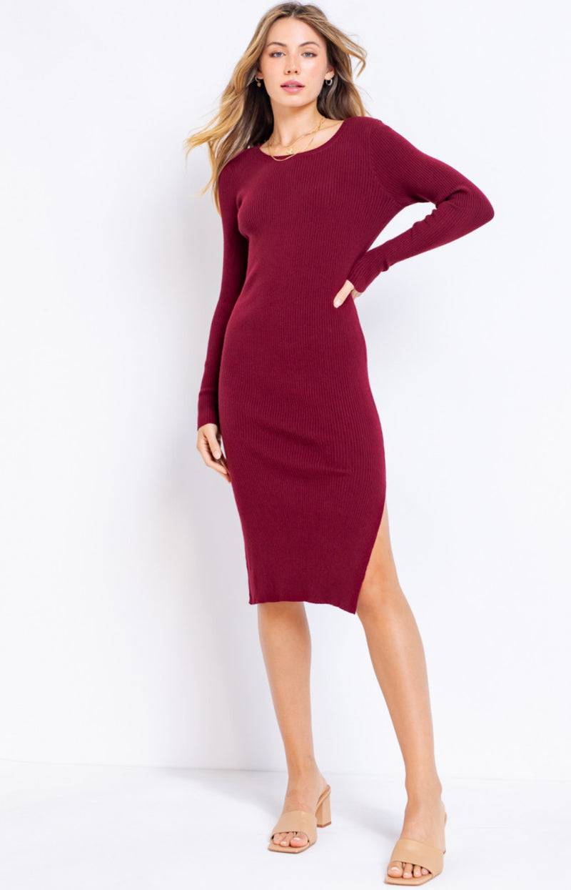 Crimson Long Sleeve Sweater Midi Dress