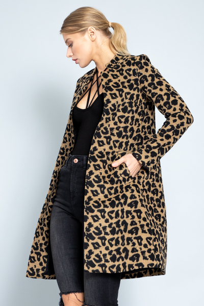 Leopard Long Sleeve Coat