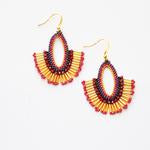 Adella Blue or Ruby Beaded Drop Earrings