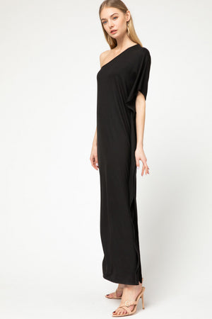 Black One Shoulder Maxi Dress