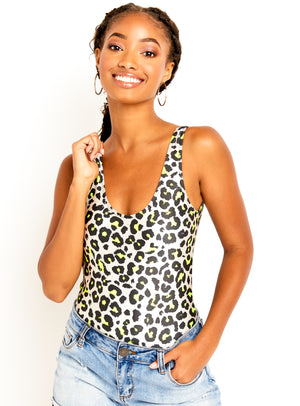 Neon Nude Cheetah One Piece Bodysuit