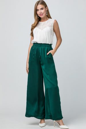 Emerald Satin Wide Leg Pants