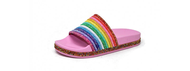 Rainbow Stripe Sequin Pink Shoes