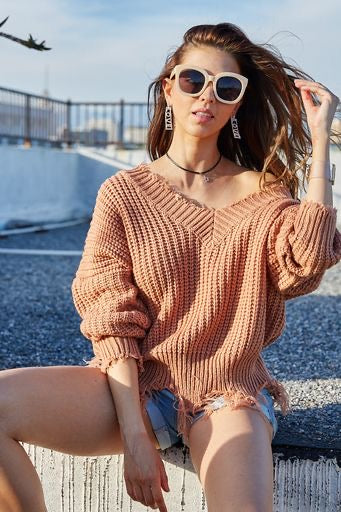 Sandstone Distressed Sweater
