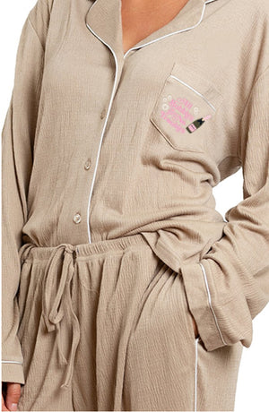 Luxe Crepe Loungewear Set-All Bubbles